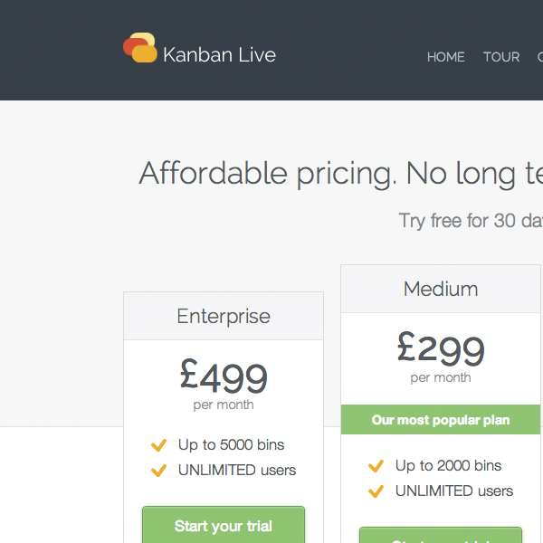 Kanban Live website screenshot