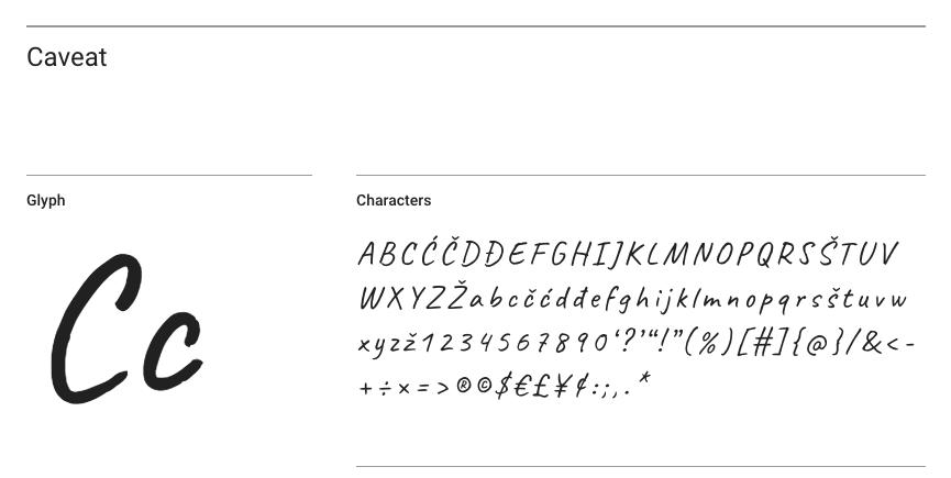 Caveat Font Screenshot