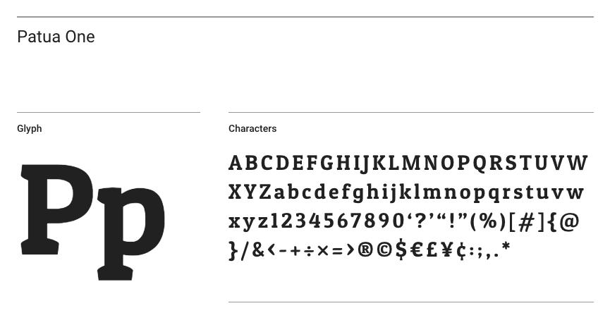Patua One Font Screenshot
